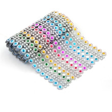 Crystal Ribbons 1yard L Crystal Multicolor Mesh Trim Bling Diamond Wrap Cake Roll Tulle Party Wedding Decoration Party Supplies