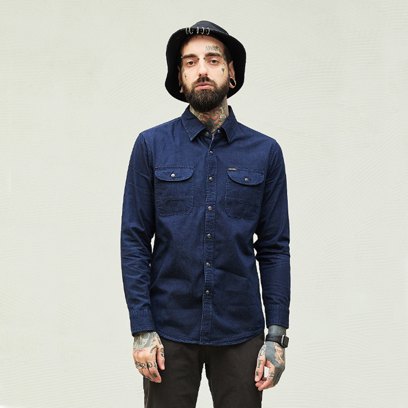 Autumn and winter mens denim shirt washed crafts high street mens clothing ...
