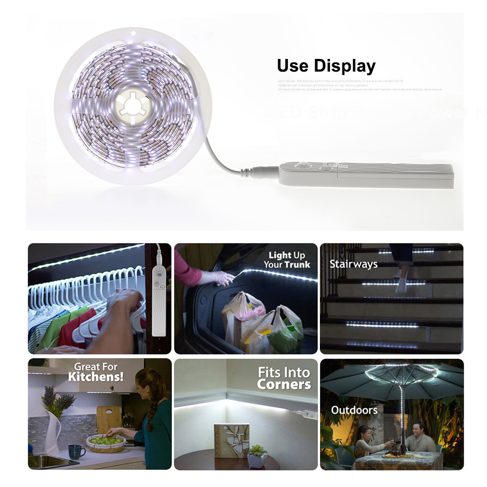 Night Light Motion Sensor 1M 2M 3M 5V USB LED Stirp Light With Automatic Shut Off Timer For Double Bed Warm White 2700K Dimmable