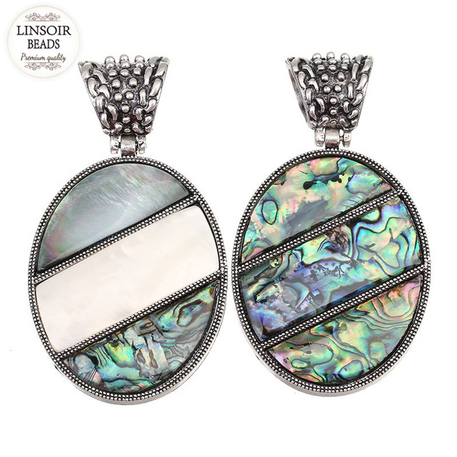 Linsoir 1pcs abalone shell pendant necklace big oval natural paua linsoir 1pcs abalone shell pendant necklace big oval natural paua shell pendant for diy jewelry necklace aloadofball Choice Image