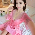 2017 Spring Summer Fall Silk Women Nightdress 2 pcs Set of Robe & Nightgown Lady Casual Home Dress Female Sexy Satin Loungewear