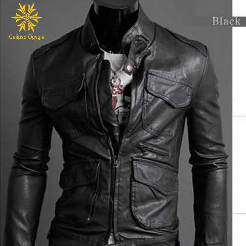 Air Force Pilot hommes 4 poches décoration ceinturée Blouson Moto Homme mode Moto manteau fausse fourrure + veste en cuir Trench Coat