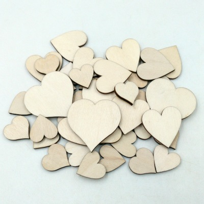 100pcs 20mm Mini Heart Shape Wood Slices For Wedding Crafts Embellishment Home Wall Decorations DIY Crafts Accessories