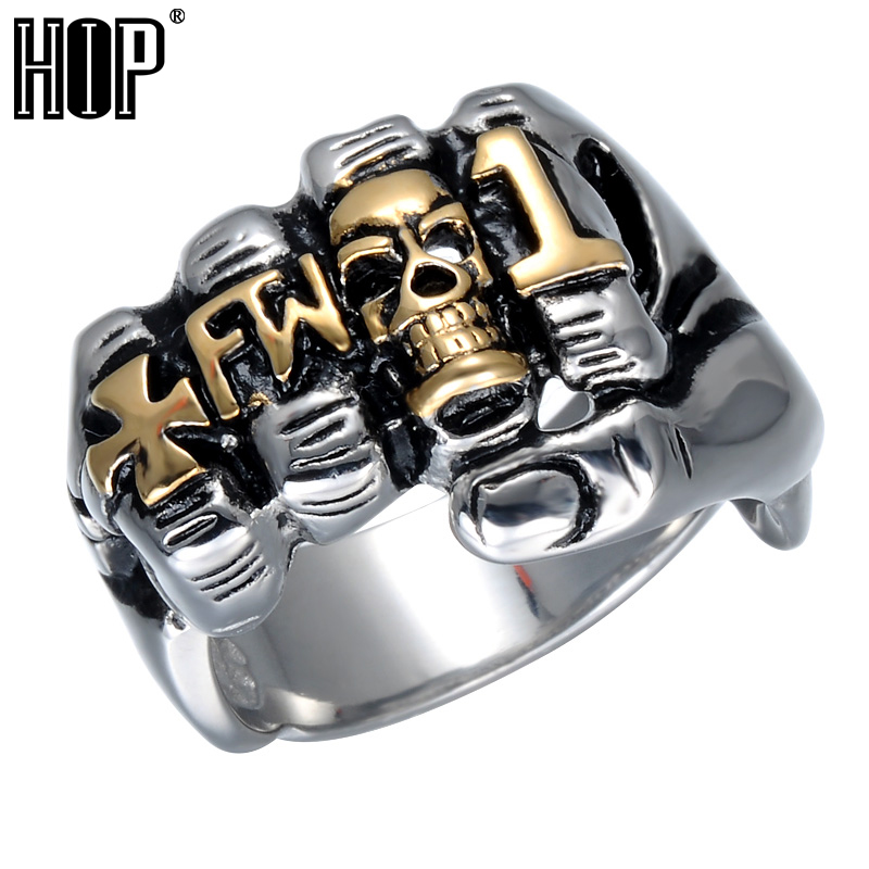 Hip Cool Fist Finger Biker Ring Punk Gothic Gold Silver Titanium Stainless Steel Unique Skull Rings for Men Jewelry equte rssm35c5s9 316l titanium steel x finger ring blue silver usa 9