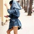 Осень Джинсовой Пальто Негабаритных Толстовка С Капюшоном Верхняя Одежда Жан Куртка Джинсовая Пальто Женщин Женские Зимние куртки mujer HO658055