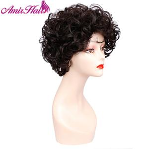 Image 4 - Short Curly Wigs Synthetic Hair Black Brown Short Wig for Women Ombre Blonde Full Wig Hair Cosplay Wig Party  Amir Hair