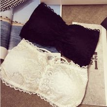 Sexy Women Lace Strapless Tube Top Cross Bra Padded Crop Tops Black White Seamless Bandeau Short Tanks Free Size for Girls