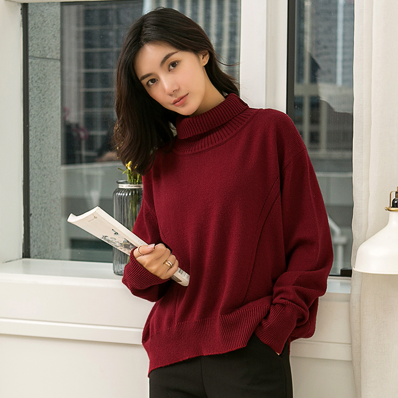 Women Sweater and Pullover 100 Cashmere and Wool Jumpers Loose Style Turtleneck Female Sweaters Hot Sale
