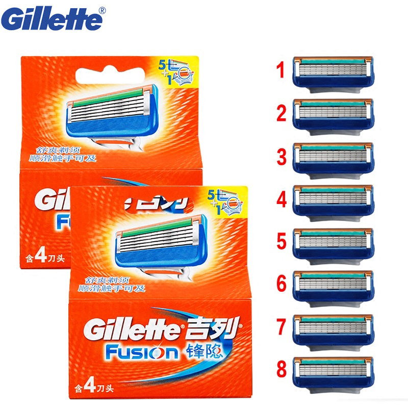 Razor shaving Blade Gillette Fusion Shaving Blades Shave Shaver razor blades For Men Shaving Razor Barbeador  8 pcs yingjili razor manual razor metal holder 3 layers razor blades safty shaver for man care