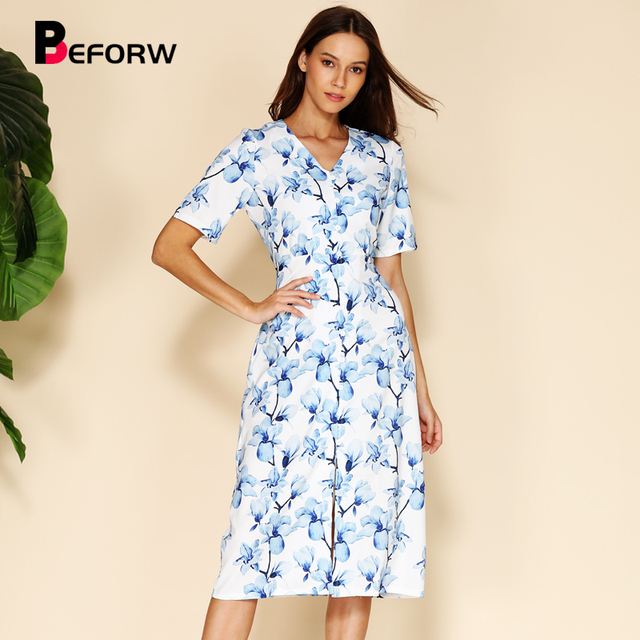 BEFORW Elegant Blue Floral Print Women Summer Dress Short Sleeve V Neck Button Midi Dresses Female Casual Dress Vestidos