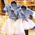 New Summer Style Family Matching Outfits Mother and Daughter Denim Dresses Matching Mom Daughter Family Clothes