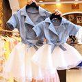 Novo Estilo de Verão Da Família Roupas Combinando Mãe e Filha Vestidos Jeans Combinando Mãe Filha Roupas Família