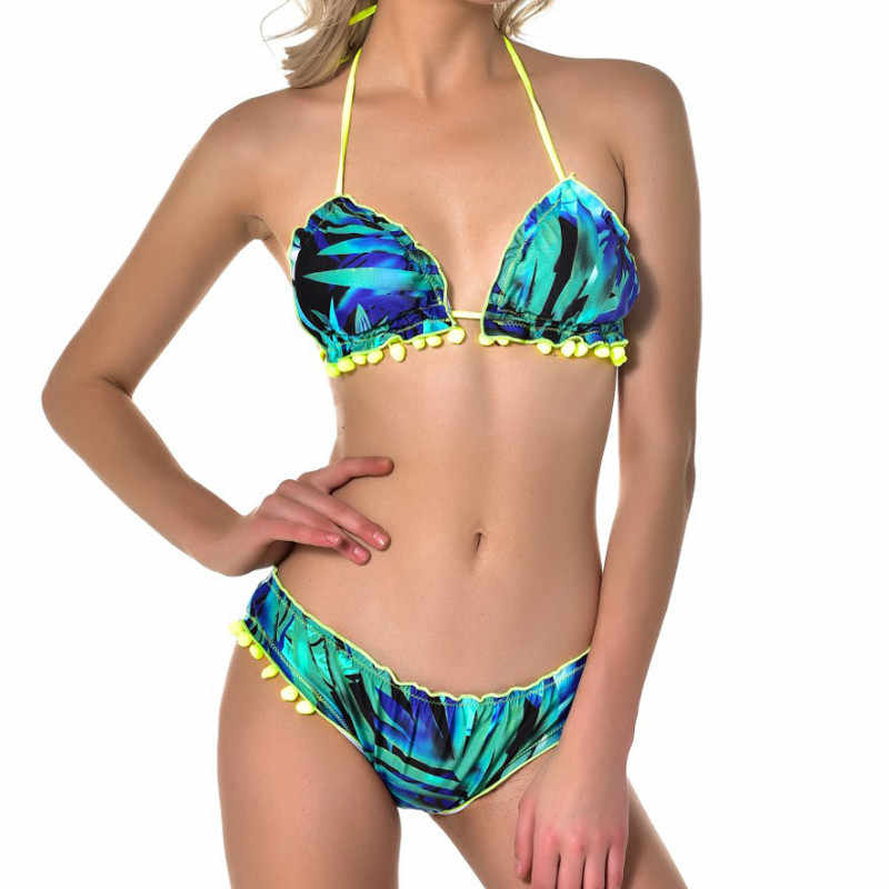 2 pcs Badpak Vrouwen Push-Up Bikini 2019 Print Badmode Badpak Bh Bandage Beachwear Halter Sexy
