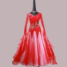 купить Ballroom Dance Dress For Women High Quality Competition Dresses Modern Waltz Tango Standard Ballroom Costume red MD1129 по цене 21634.42 рублей