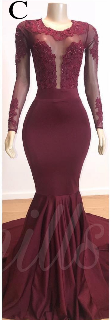 Reflective Dress Mermaid African Burgundy Prom Dresses Long Lace Appliqued Evening Dress Formal Party Gowns