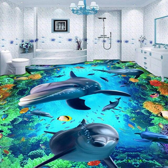 Nach 3D Boden Tapete Delphin 3D Stereo Boden Aufkleber Wandbild PVC ...