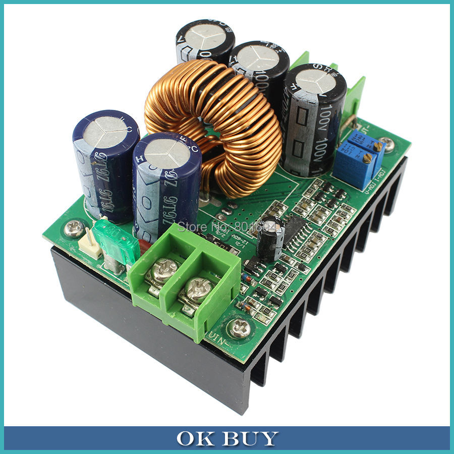 1200W 20A DC Constant Current CV Boost Converter 8V-60V to 12V-80V Non-isolated Voltage Step-up Power Supply Module