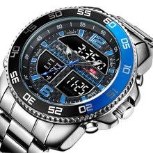 Negócio Da Moda de luxo Homens dos homens Militares Relógio Digital de Quartzo de Aço Completo Relógio de Pulso À Prova D' Água relogio masculino relógio rolex