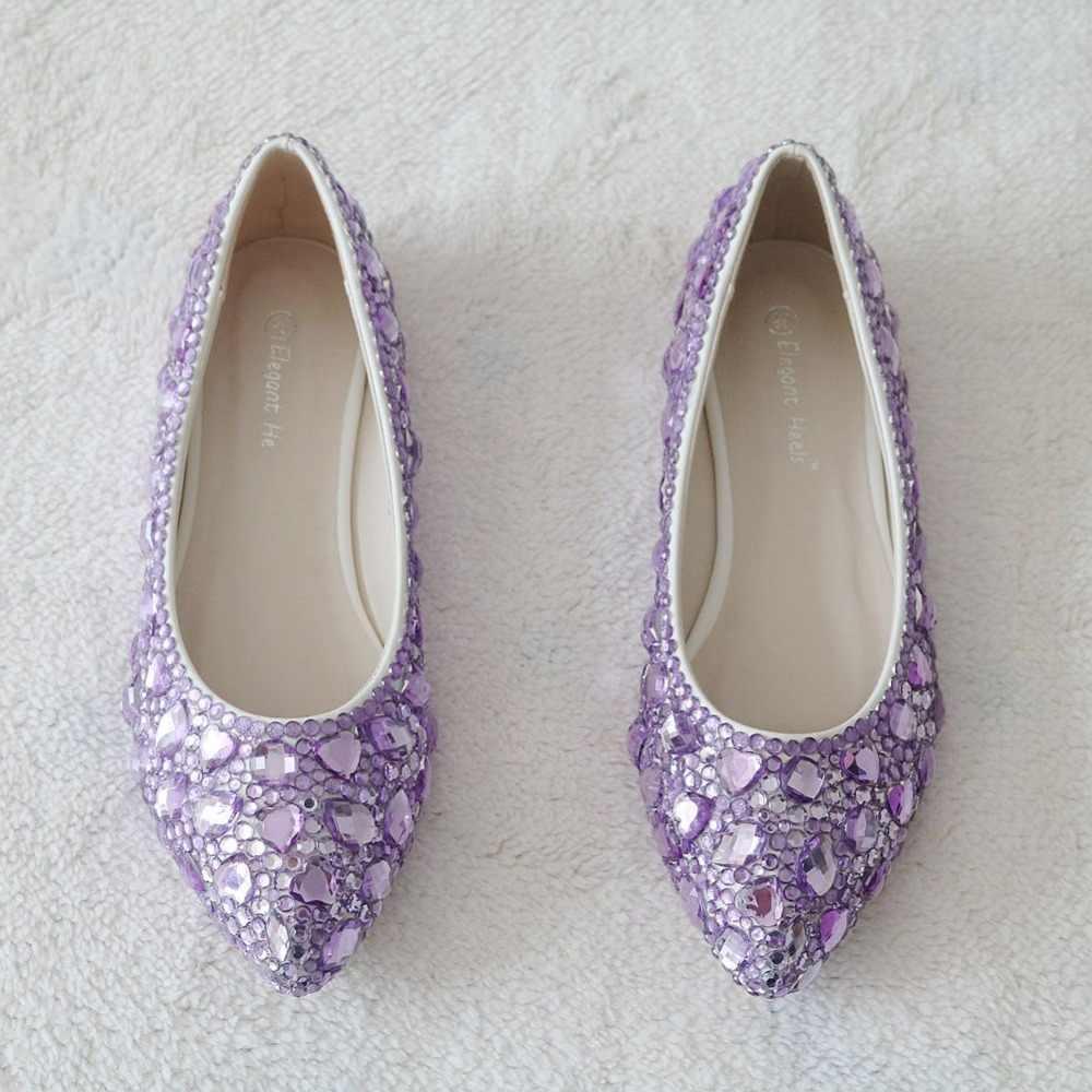 af93cd0acebf ... Newest fashion flats shoes purple diamond flats woman shoes Ballet  flats woman shoes ...