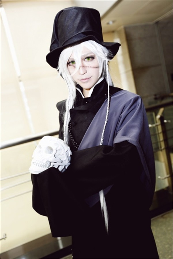 Anime Black Butler Undertaker Cosplay Costume Black Funeral Full Set