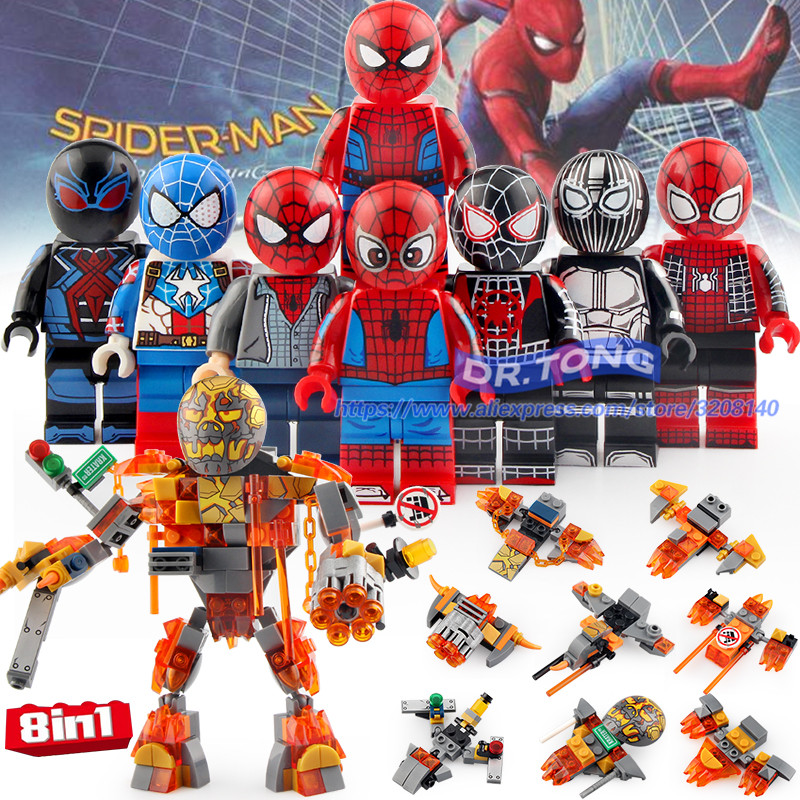 80pcs Building Blocks 8in1 Super Heroes SpiderMan Far From Home Iron Man Spider Man action Figures Bricks Toys DLP9097