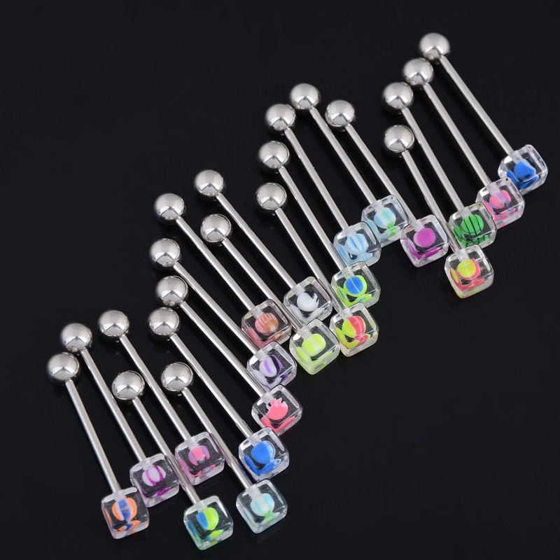 Wholesale 5Pcs Acrylic Square Ball Tongue Bars Rings Body Piercing Belly Navel Ring Stud Free Ship
