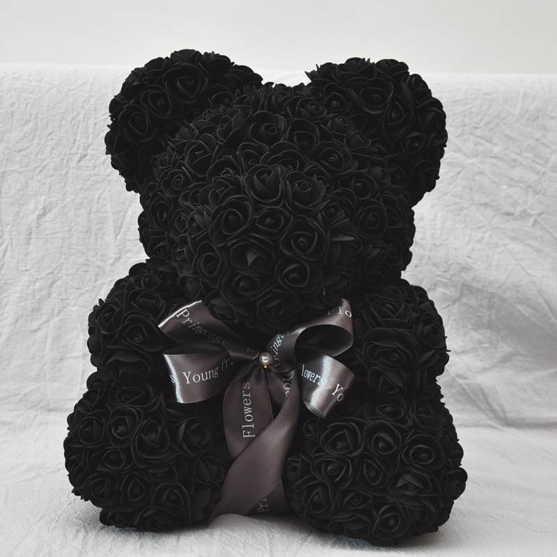 2018 Valentines Gift PE Black Color Rose Bear Wedding Gift Girlfriend Gift Anniversary Gift  (free Customize Ribbon Tie)-in Artificial & Dried Flowers from Home & Garden    1