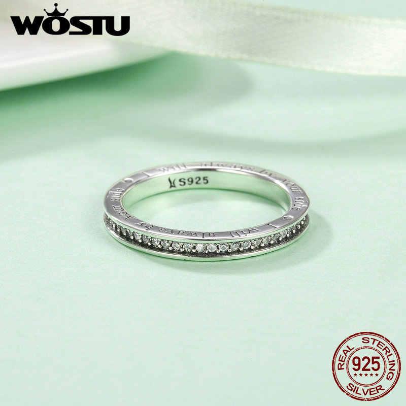 WOSTU 100% réel 925 argent Sterling toujours dans mon coeur anneaux pour les femmes mode fiançailles S925 bijoux beau cadeau CQR159