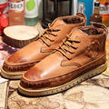 US6-10 Mens Retro Leather Like Winter Fur Lined Lace Up Round Toe Martin Snow Boots Casual Shoes