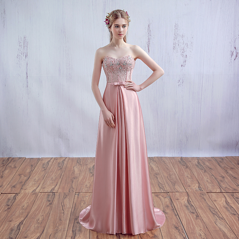 Sexy Vestido Rosa Largo Prom Formal Partido Abendkleider