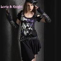 Japanese Harajuku Punk Style Asymmetrical Hem Rivet Shoulder Pesonality Graffiti Print Street Fashion Dress
