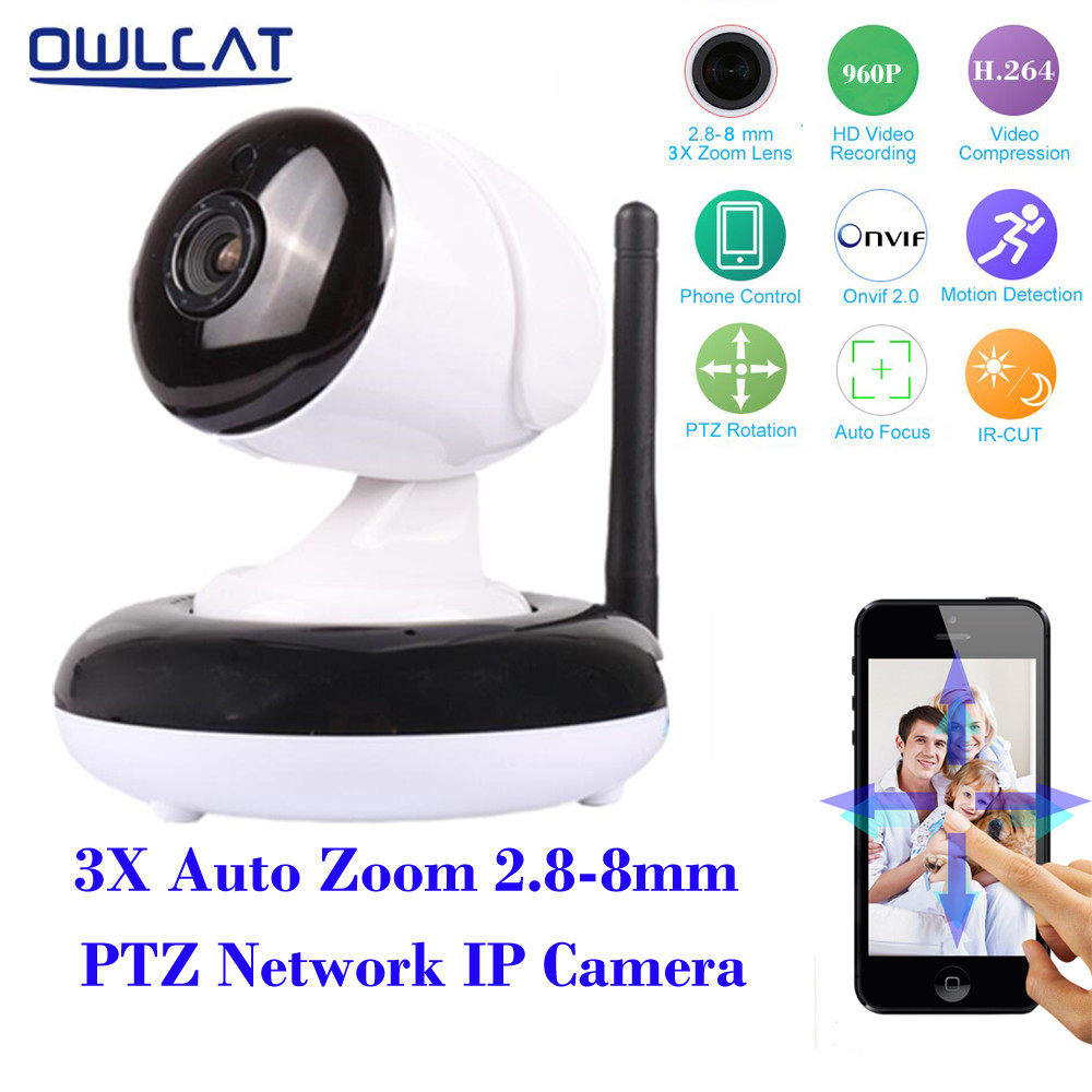 OwlCat HD 960P Wireless Wifi IP Camera 2.8-8mm 3Xoptical zoom Auto Focus Lens PTZ IR cut Onvif P2P Two Way Audio Security Camera 30x zoom camera ptz wireless onvif 960p auto tracking wireless wifi infrared ip camera support audio