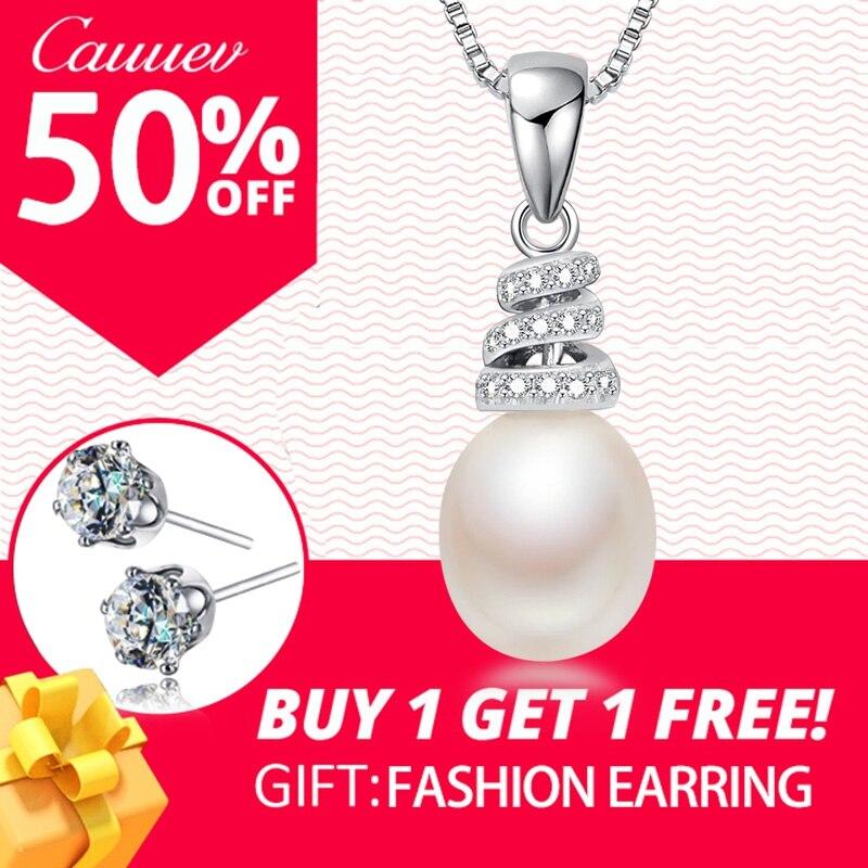 925 Sterling Silber Halskette Anhänger Für Frauen Echtes 100% Reale Natürliche Süßwasser Perle Schmuck 8-9mm Großhandel Preis 5 Farben