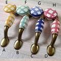 "76mm Checkered colorful porcelain furniture decoration handle 3"" ceramic drawer cabinet pull bronze vintage furniture handle"
