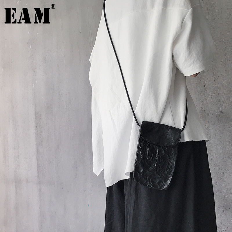 [EAM] 2019 New Spring Summer Pu Leather Balck Fold Split Joint Long Personality Women Accessories Fashion Tide All-match JX241