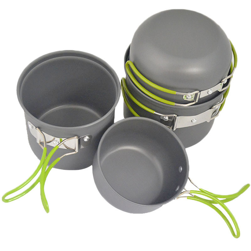 4pcs Outdoor Camping Hiking Cookware Backpacking Cooking Picnic Bowl Pot Pan Set