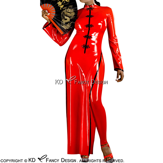Red With Black Trims Sexy Latex Aodai Ao Dai Rubber Cheongsam QIBAO Dress Bodycon Playsuit LYQ