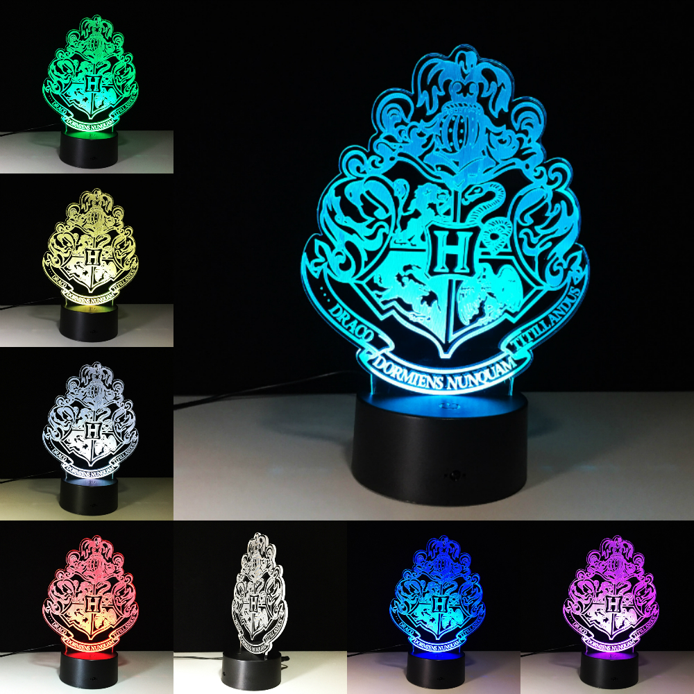 Harry Potter Hogwarts House Badge Lamp 7 Colors Changing Illusion Visual Nightlight Festival Lamp Christmas Party Decor Kid GiftHarry Potter Hogwarts House Badge Lamp 7 Colors Changing Illusion Visual Nightlight Festival Lamp Christmas Party Decor Kid Gift