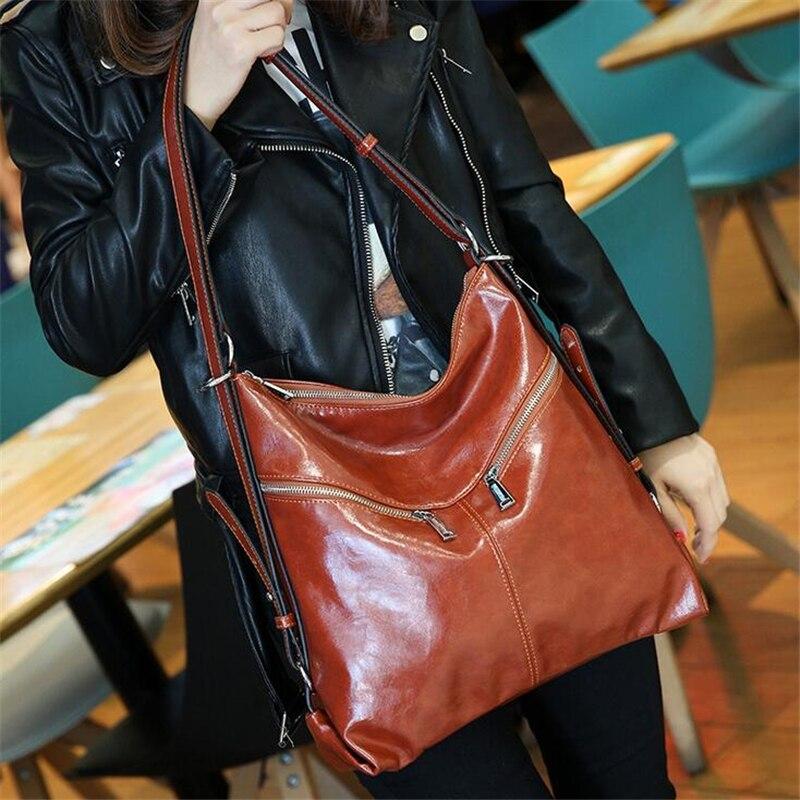 все цены на  New Fashion Luxury Women Tote Bags High Quality Oil Pu Leather Handbags Hobo Women Famous Brands Shoulder Bags For Ladies Zipper  онлайн
