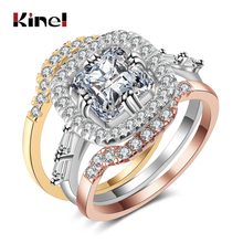 Kinel Luxury Wedding Ring Set For Women Mix 3 Colors Metal Big Square CZ Zircon Rings Fashion Jewelry Christmas Gift