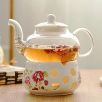 New Candle Heating Flower Teapot With Base European Style Ceramic Teacups And Saucers Afternoon Black Tea Sets Teapot Style 001