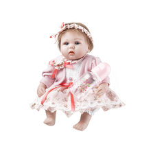 1742cm Handmade Dolls Newborn Realistic Reborn Dolls Silicone Realistic Bonecas With Rooted Hair Baby Girl Children's Gift Toys