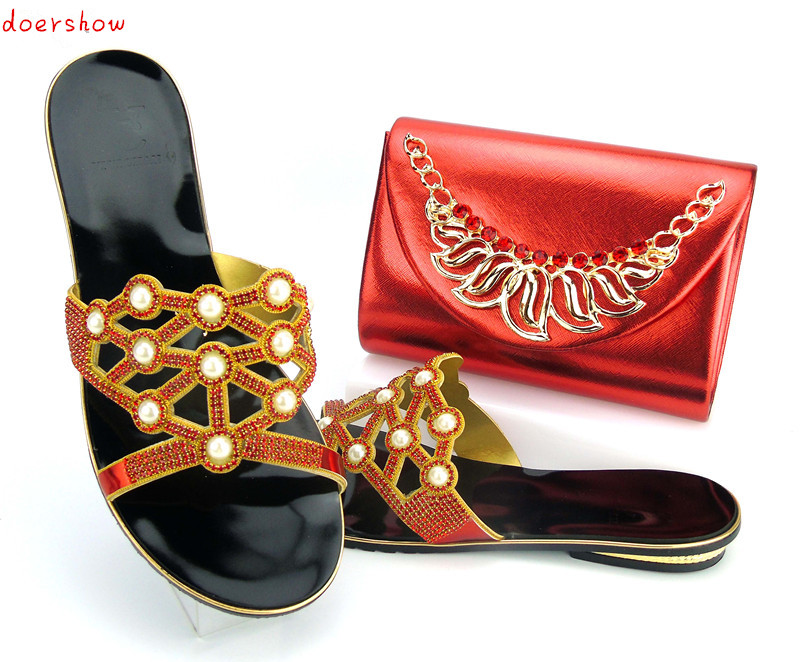 doershow Shoes and Bag To Match Italian Nigerian Party Shoes and Bag Set Decorated with Rhinestone Wedding  PYS1-1 african style nicelooking italian matching shoes and bag set ladies shoes and bag to match for nigerian wedding doershow wtt1 22