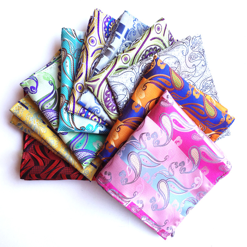 New Men Handkerchief Silk Woven Plaid Floral Pattern Hanky Men's Business Casual Square Pocket Handkerchief Wedding Hankies