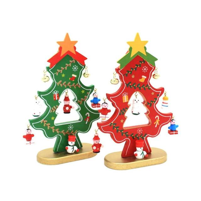Wooden Christmas Tree Ornaments New DIY Desktop Ornaments Gifts Retro  Wooden Xmas Tree Christmas Decorations For