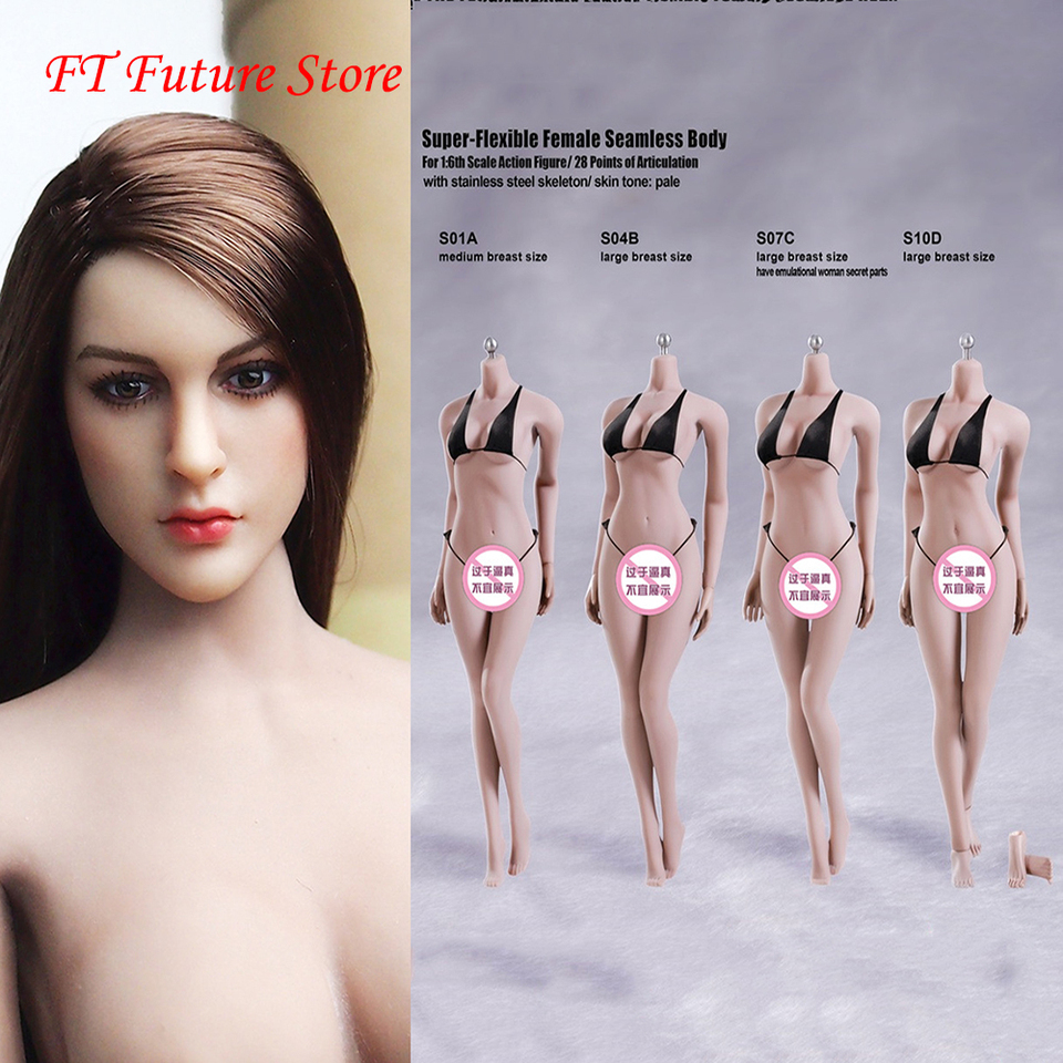 Phicen S10D female seamless body series white color of skin 1//6 FIGURE