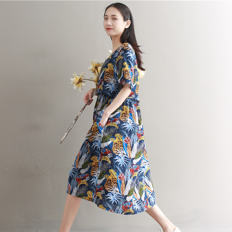 2c0e5fa7542c MIWIMD Women Summer Dresses 2018 New Fashion Casual Loose Cotton Linen  Short Sleeve Print Pleated Vitage A Line Dress Big Size-in Dresses from  Women s ...