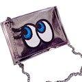 Nueva moda Ojos Grandes mujeres bolsa de hombro de la cadena de Bling de la pu de cuero bolsa de mensajero embragues de señora handbag Del monedero del Sobre XA187B láser