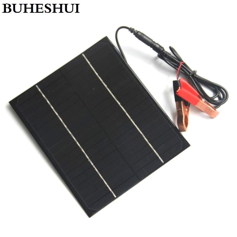 BUHESHUI 6W 12V Mini Solar Panel+5521DC Crocodile Clip Monocrystalline Solar Cells DIY Solar Module For Solar Power System