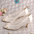 Wedopus Plus Size Cream Lace Heel Shoes Bridal Open Toe Dropshipping